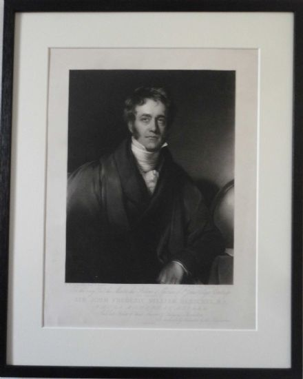 Sir John Herschel British Astronomer - Antique Engraving by William Ward 1835